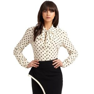 🆕The Limited  White Swiss Polka Dot Neck Tie Top